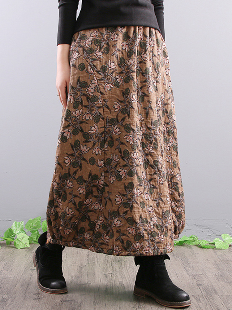 Women Elegant Floral Print A-line Long Skirts