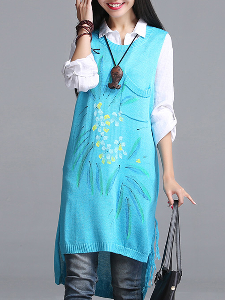 Women Vintage Folk Style Sleeveless Sweater Knitted Printing Sweater Dress