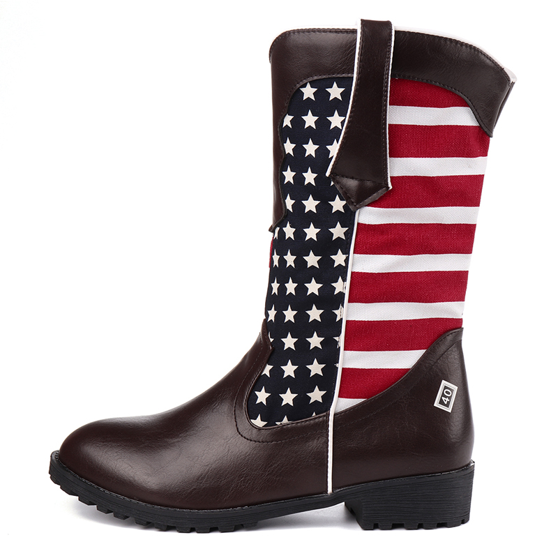 US Size 5-12 Women Slip On Cloth Pattern Mid-calf Boots