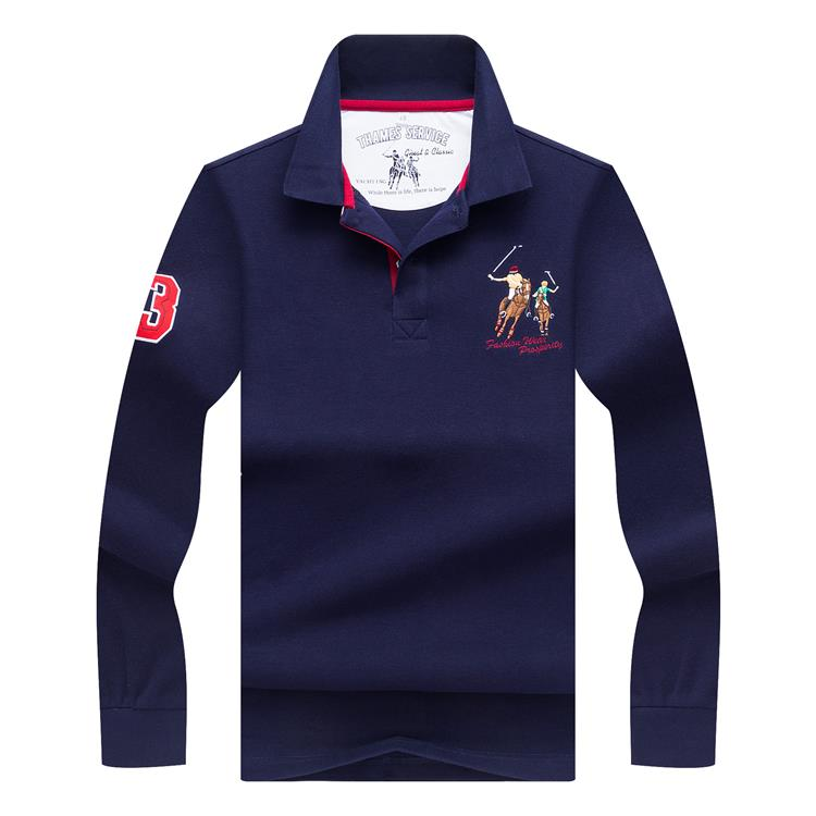 Embroidery LOGO Golf Shirt Casual Business Lapel Long Sleeve
