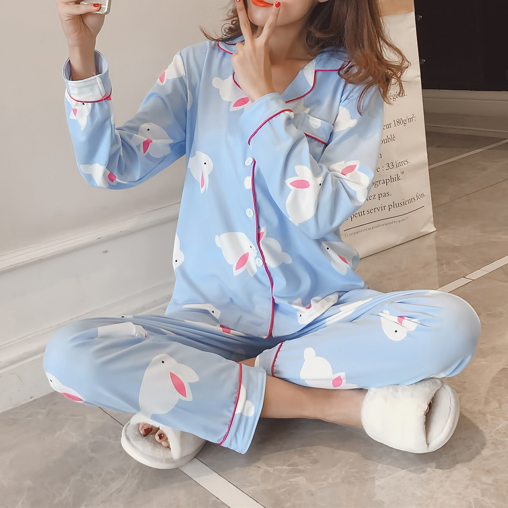 2Pcs Printed Long Sleeve Lapel Button Silk Pajama Sets