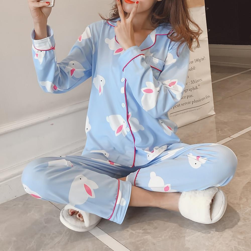 Image of 2Pcs gedruckt Langarm Revers Button Silk Pyjama Sets
