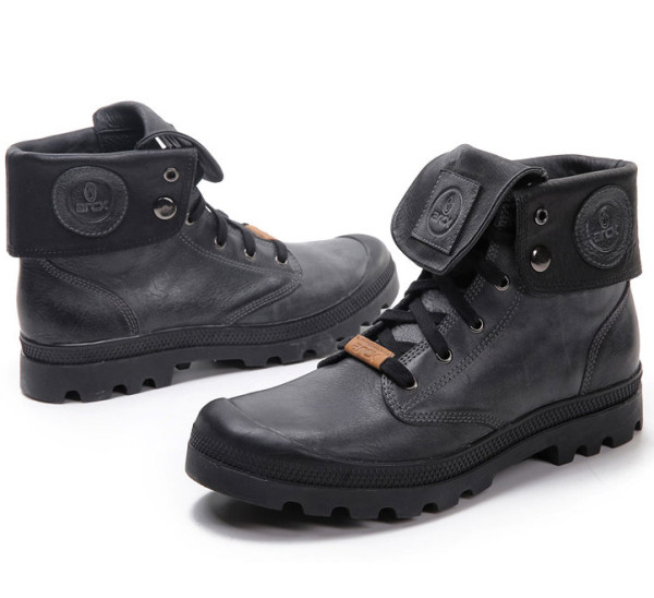 Black Casual Leather Boots Short Boots Shoes Winter Warm For Motorcycle Riding 39-45