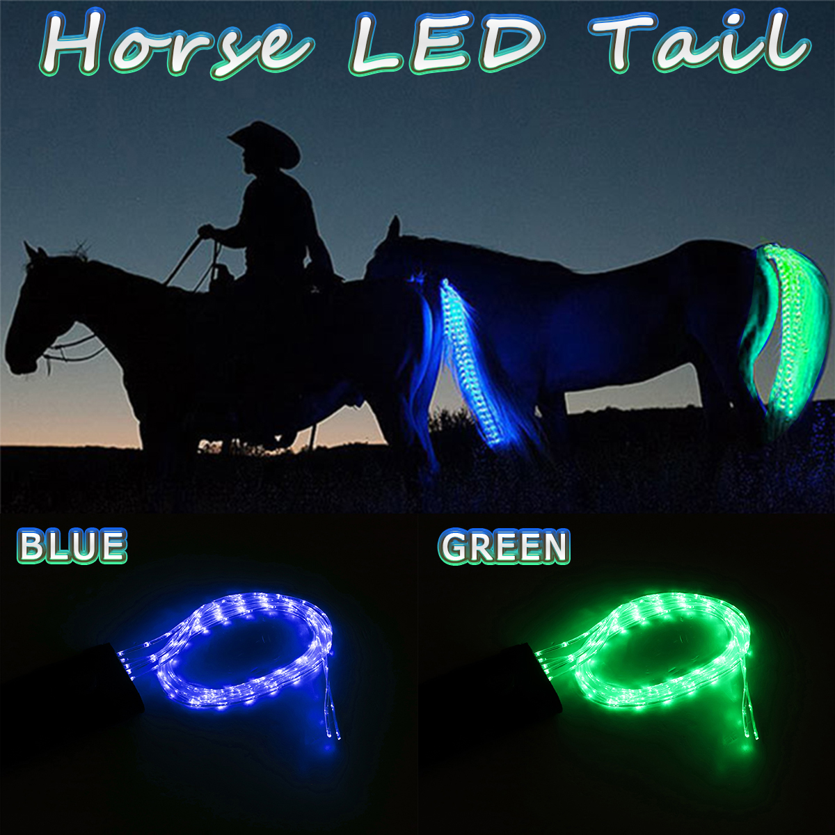 100cm Horse Tail Light USB Chargeable LED Camping Lamp Sports Horse Harness Equestrian Lantern