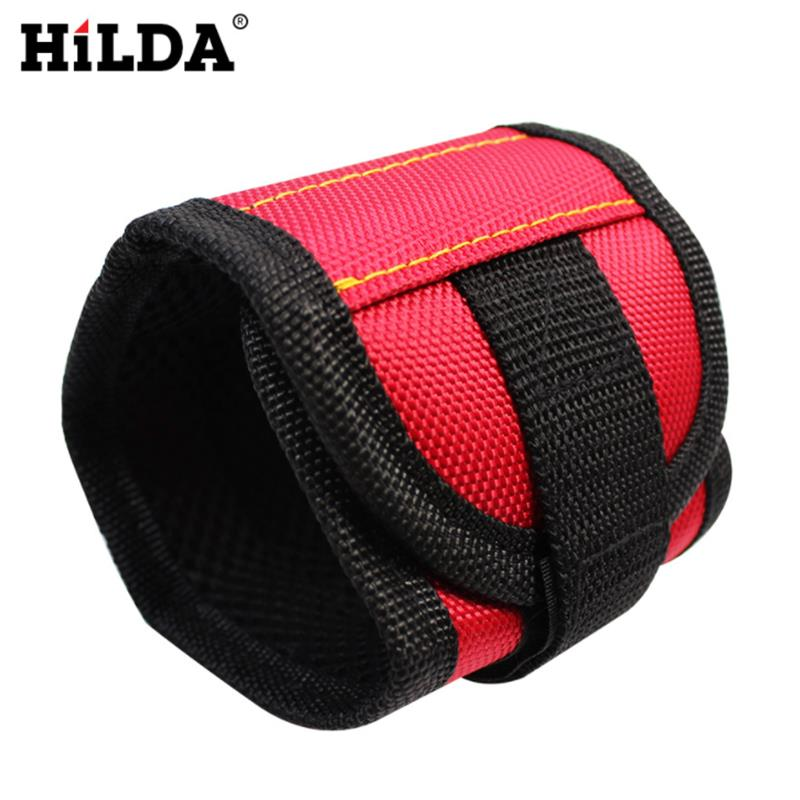 HILDA Wristband Tool Adjustable Tool Wrist Band for Screws Nails Nuts Bolts Drill Bit Holder