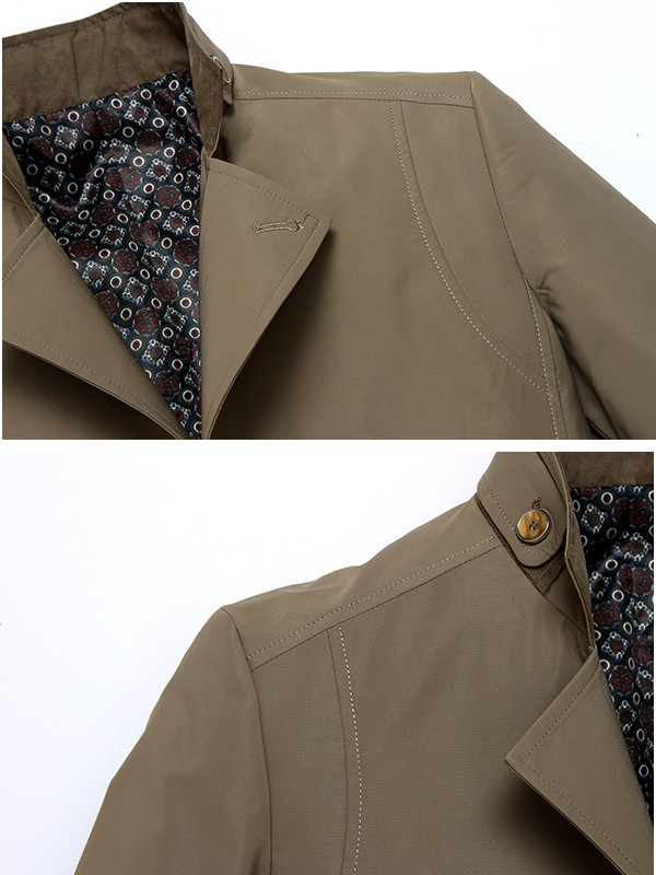 Mens Business Stand Collar Trench Coat Solid Color Slim Fit Casual Overcoat
