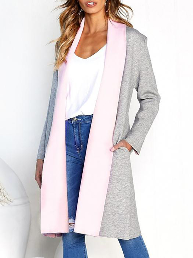 Women Solid Color Long Sleeve Mid Long Outerwear Coats