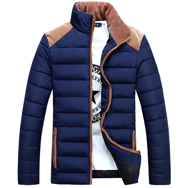 Mens Stand Collar Coat Fashion Casual Slim Fit Stitching Polyester Thick Jacket