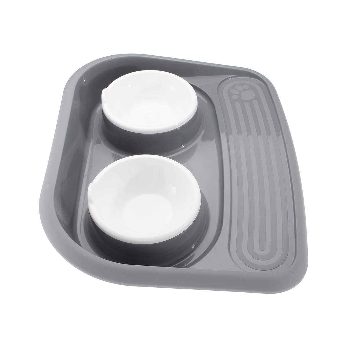 Plastic Pets Feeder Bowl Dog/Cat Feed Drink Double Dish Food Water Splash Proof Pet Bowl