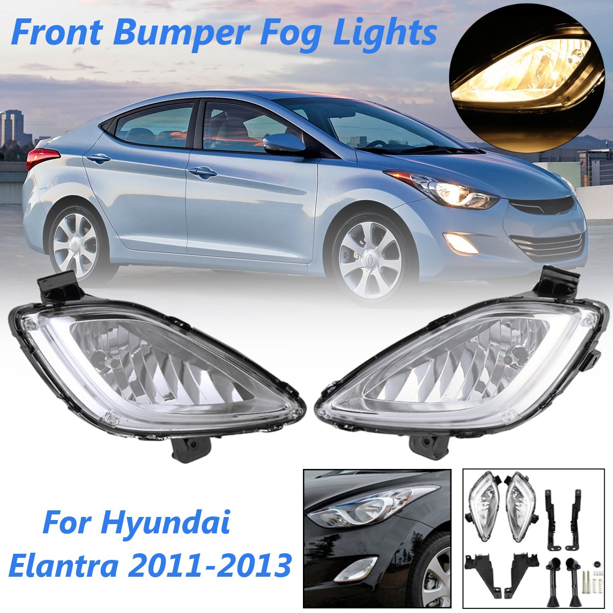 A Pair Left Right Clear Front Bumper Car Fog Lights Lamps For Hyundai Elantra 2011-2013