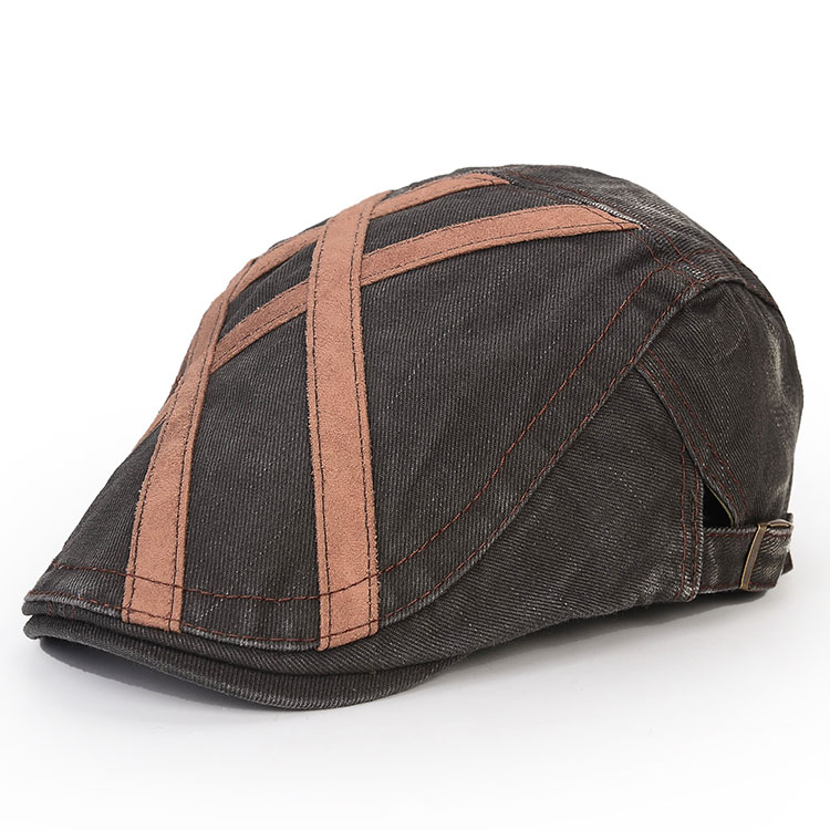 Men Washed Beret Hat Buckle Paper Boy Twill Hats Newsboy Cabbie Gentleman Visor Caps
