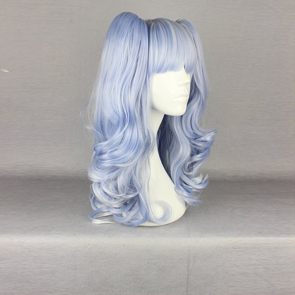 Light Blue Highlight Bunches High Temperature Heat Friendly Synthetic Hair Costume Cosplay Wig