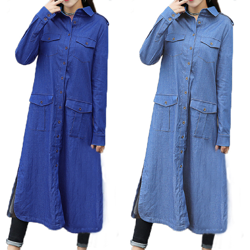 Casual Women Long Sleeve Pocket Button Long Denim Cardigan