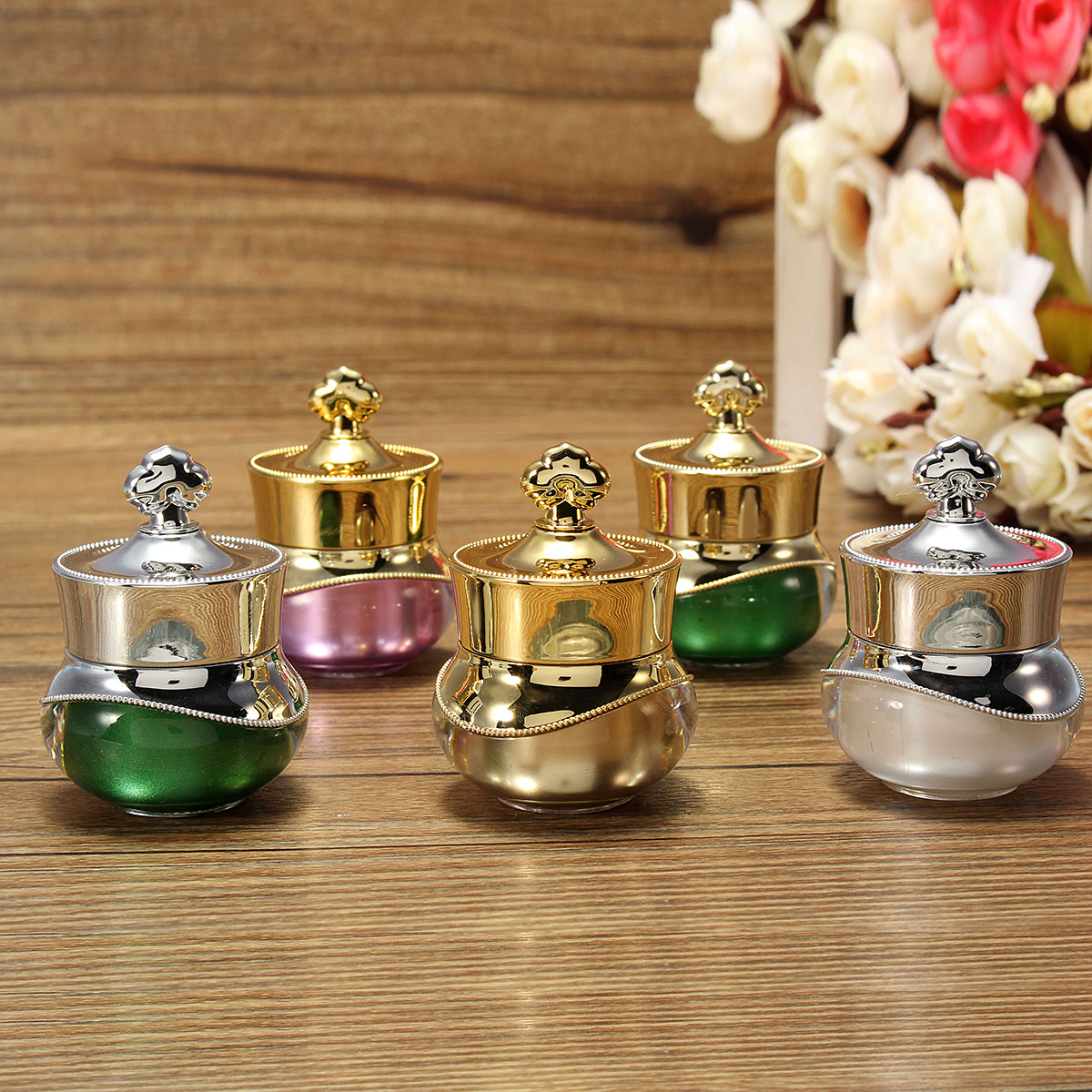4 Colors Crown Eye Cream Empty Refillable Bottle Container Nail Art Makeup 5g