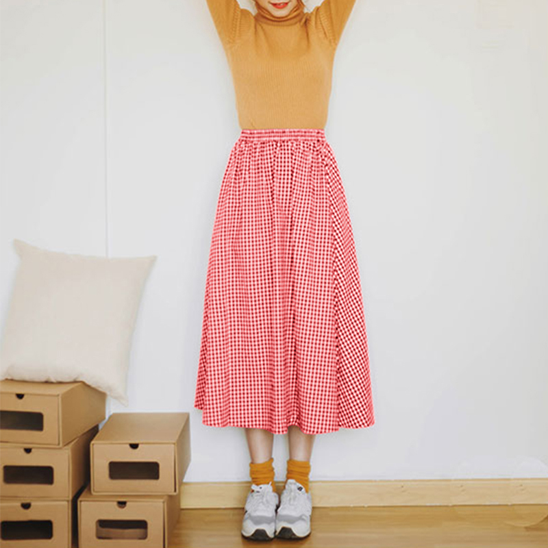 Women Casual Plaid High Elastic Waist Long A-line Skirts