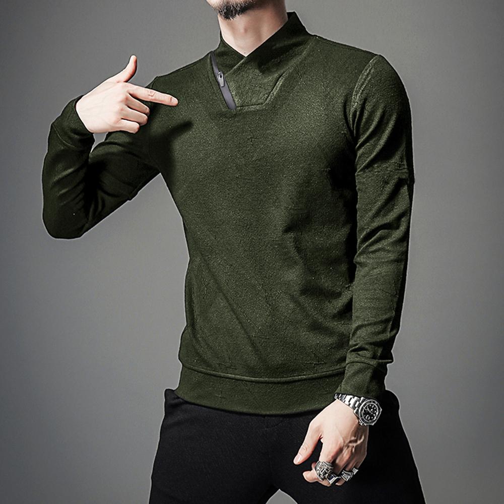 Men's Zipper Decoration High Collar Casual T-shirts