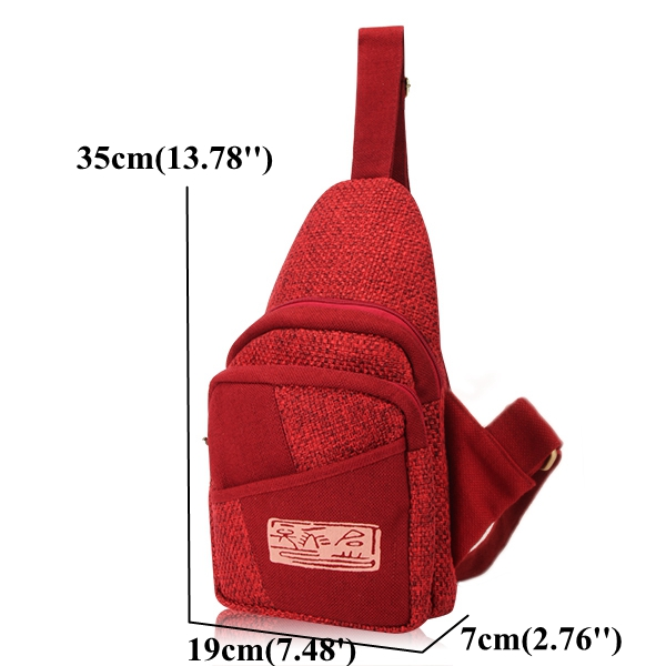 Women Men Light Weight Stitching Linen Crossbody Bags Casual Pillow Chest Diagonal Bags 4 Colors