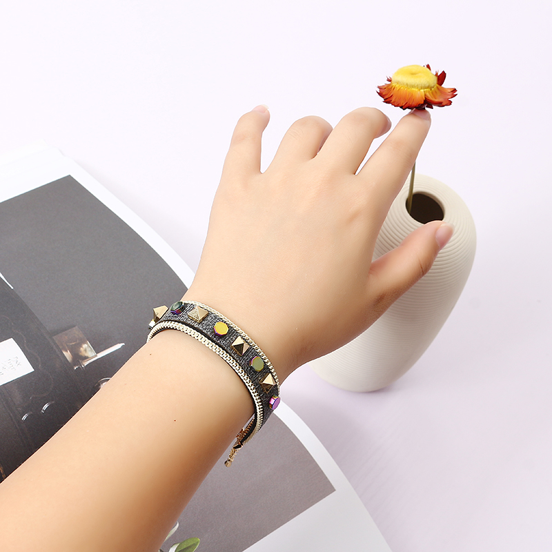 Bohemian Rivet Gold Plated Bracelet Colorful Coin Leather Bracelet Bangle Fashion for Women
