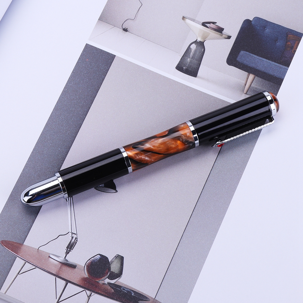 1Pcs FuliWen Black and Amber Color Fountain Pen Medium Nib Rotate Ink Smooth Writing Pen