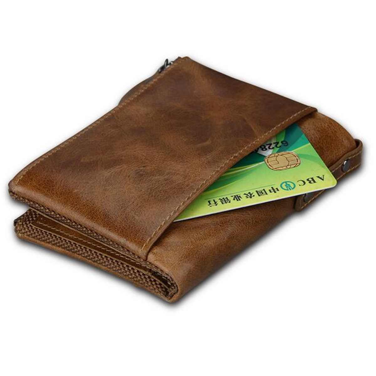 IPRee® Men's Vintage RFID Blocking Wallet Genuine Leather ID Card Holder Coin Pocket Purse