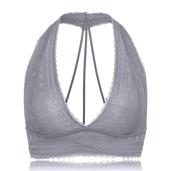 Sexy Lace Wireless Backless Halter Overhead Soft Cotton Ultra Thin Bra