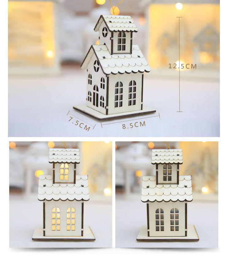 Christmas 2017 LED Night Light Wooden Luminous Cabin Lamp Christmas Tree Ornaments Gifts
