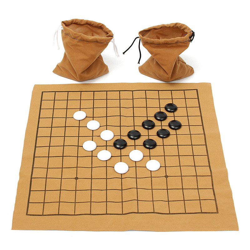 90PCS Go Bang Chess Game Set Suede Leather Sheet Board