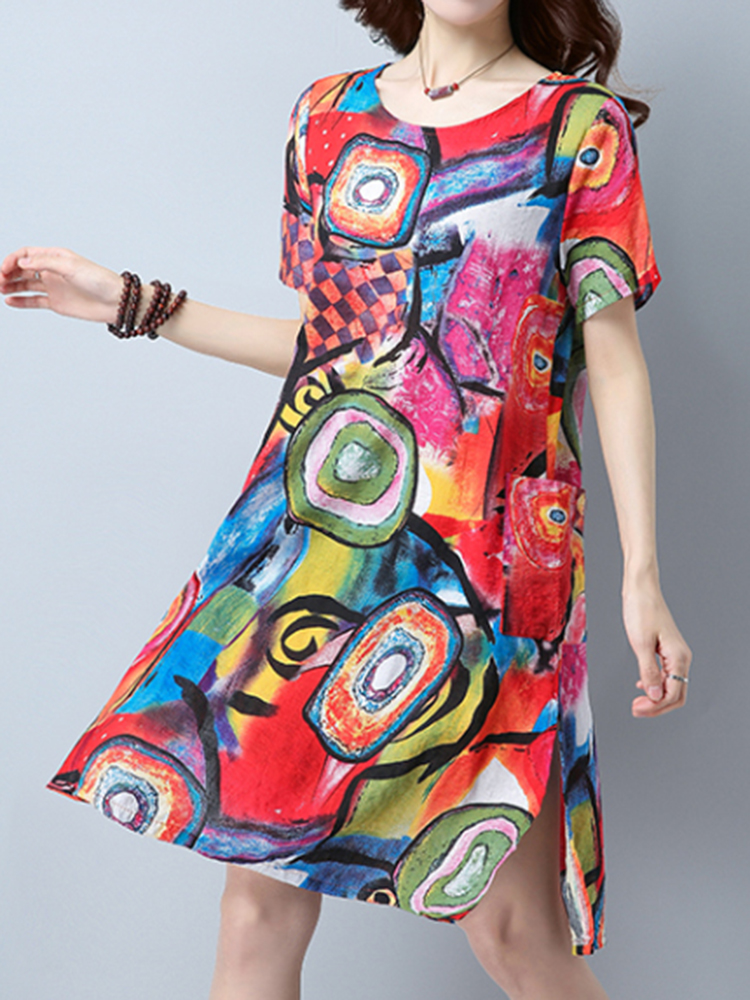 Casual Women Short Sleeve O-Neck Pockets Printed Dress