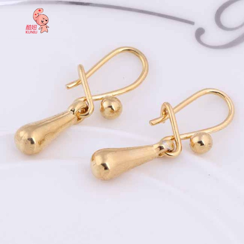 Kuniu Simple 18k Gold Plated Waterdrop Dangle Pendant Earrings