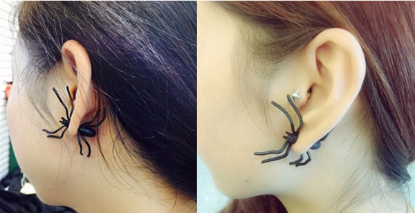 1pc Punk Alloy Black Spider Stud Earring Women Jewelry