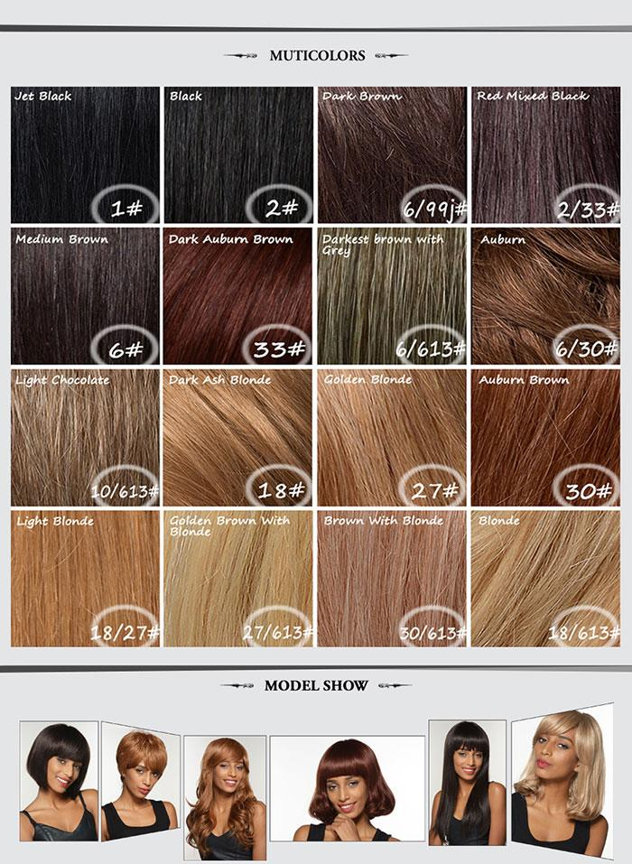 Medium Long Natural 7 Colors Human Hair Wig Mono Top Virgin Remy Capless Side Bang Lady