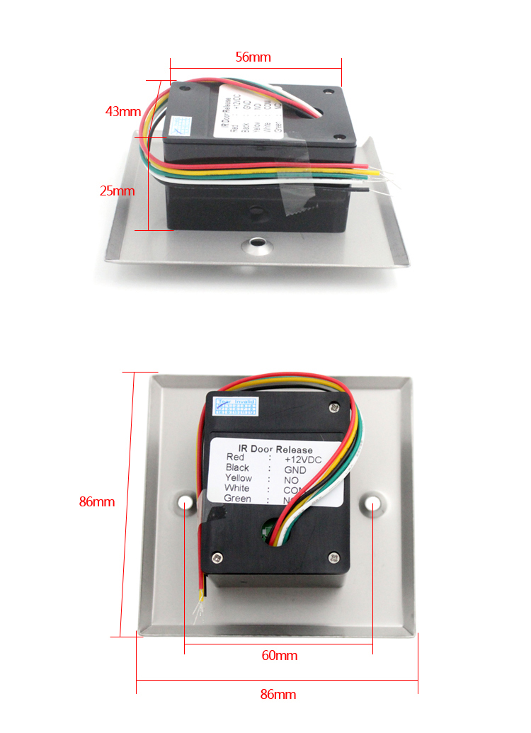 Infrared Sensor Switch No Touch Contactless Door Release Exit Button with LED Indication