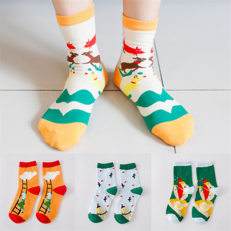 Women Ladies Cute Cartoon Pattern Art Illustration Creative Cotton Long Socks