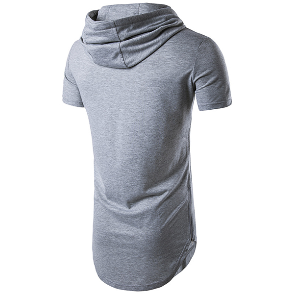 Mens Double Zipper High Street Hip-hop T-shirts Casual Short Sleeve Hooded T-shirt