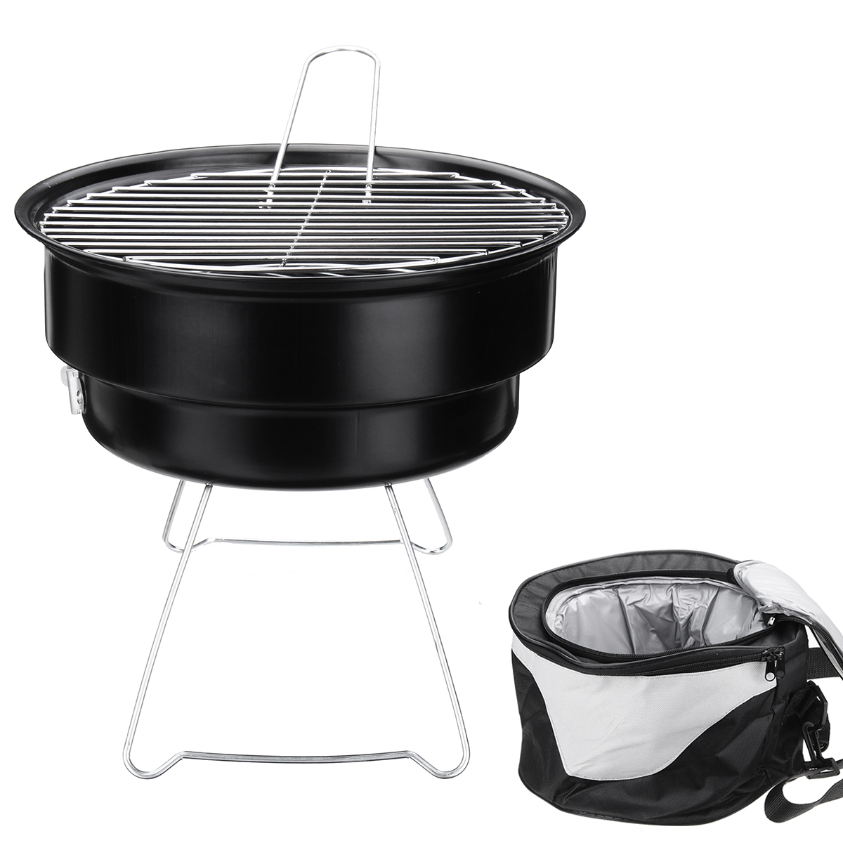 2 In 1 Portable Barbecue Oven Folding BBQ Grill With Cooler Bag Camping  Hiking Picnic | BidderFace