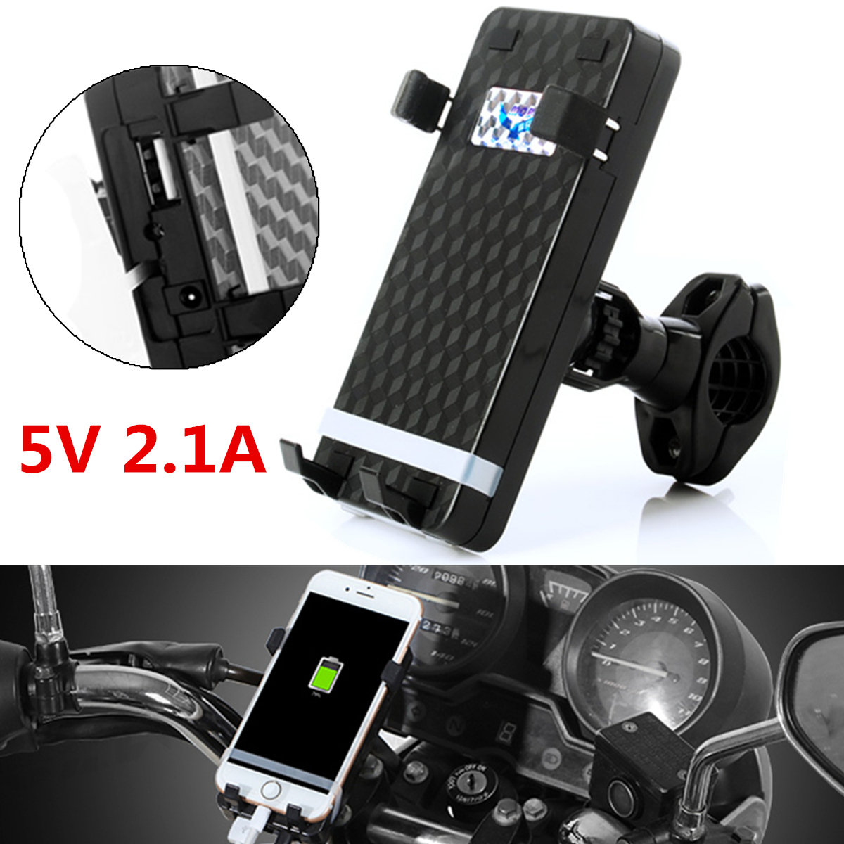 Universal Motorcycle Handlebar USB Charger Mount Holder For Cell Phone GPS