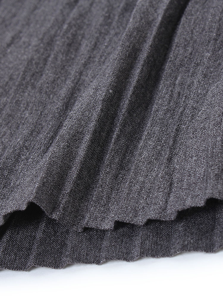 Elegant Women Pure Color High Waist Pleated Knitted Full Maxi Skirt