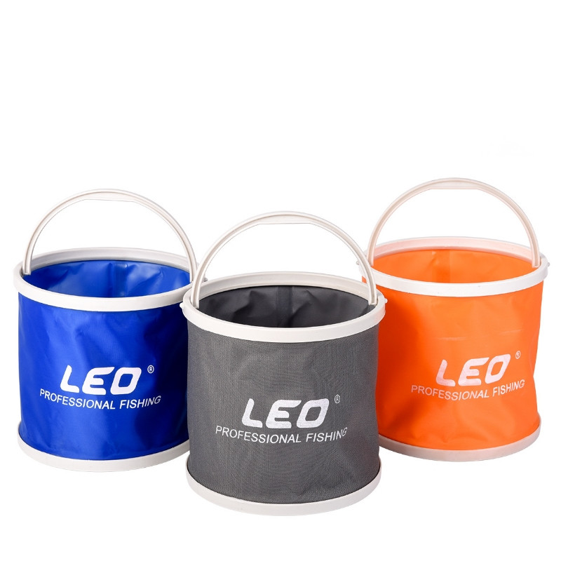 LEO Canvas Plastic Folding Fish Bucket Portable Outdoor Camping Fishing Bucket Tool