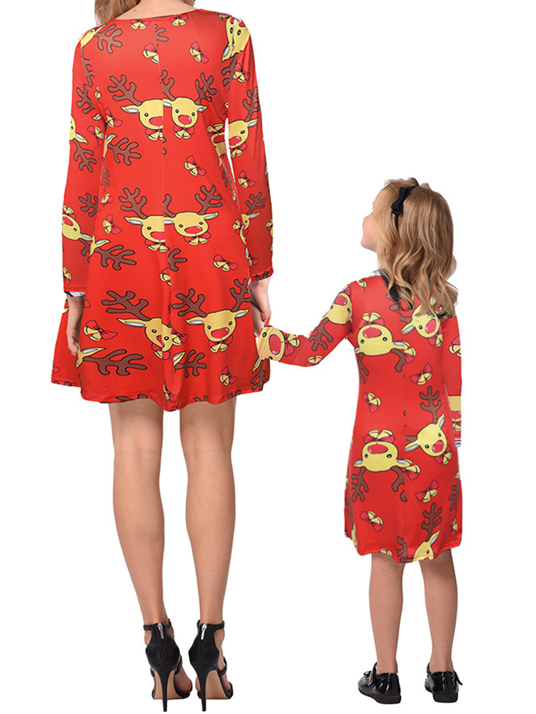Women Long Sleeve O-neck Christmas Print Parent-child Party Dress