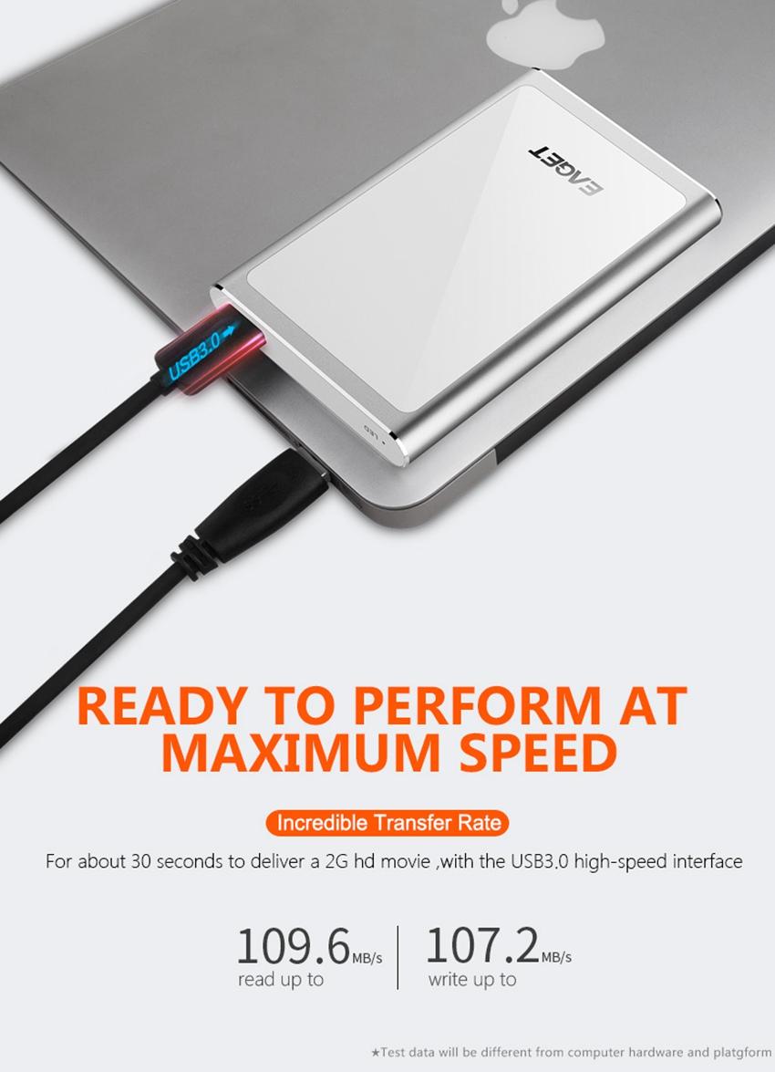 EAGET G90 USB 3.0 Full Encryption External Hard Drive 1TB 2TB Hard Disk
