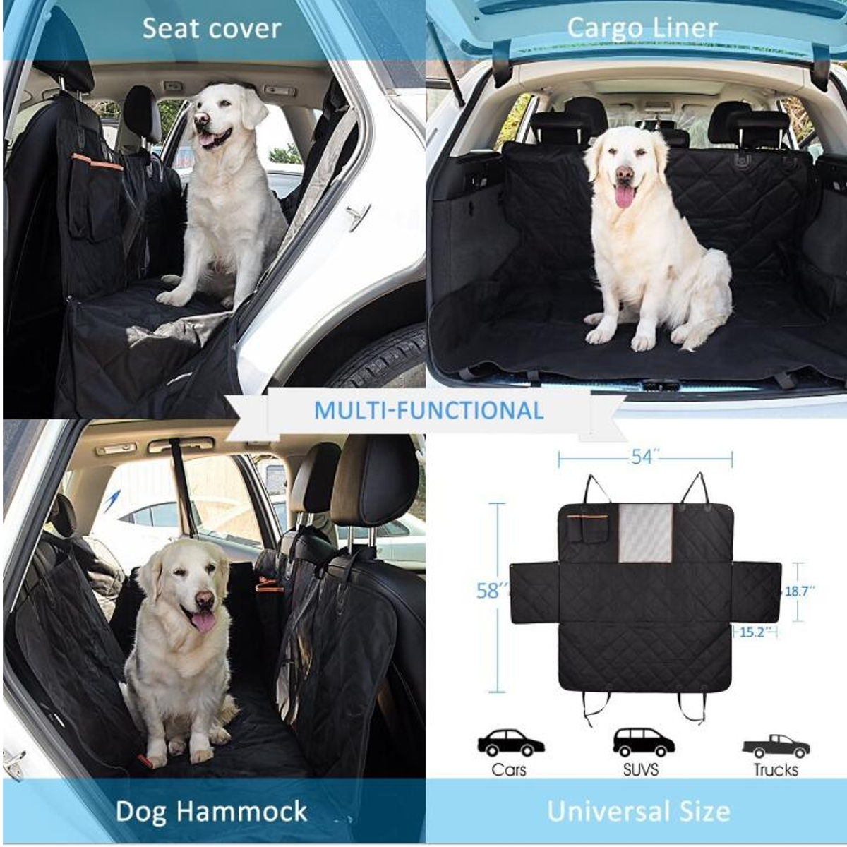 Car Rear Back Seat Cover with Storage Pocket Pet Dog Carrier Mat Hammock Waterproof Cushion Protector For Car Trucks