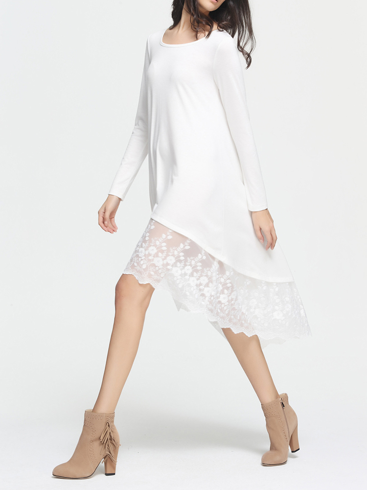 Women Casual Lace Patchwork Long Sleeve Solid Color Dresses