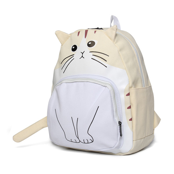 Women Canvas Cat Face Backpack Girls Cute Rucksack School Students Book Bags