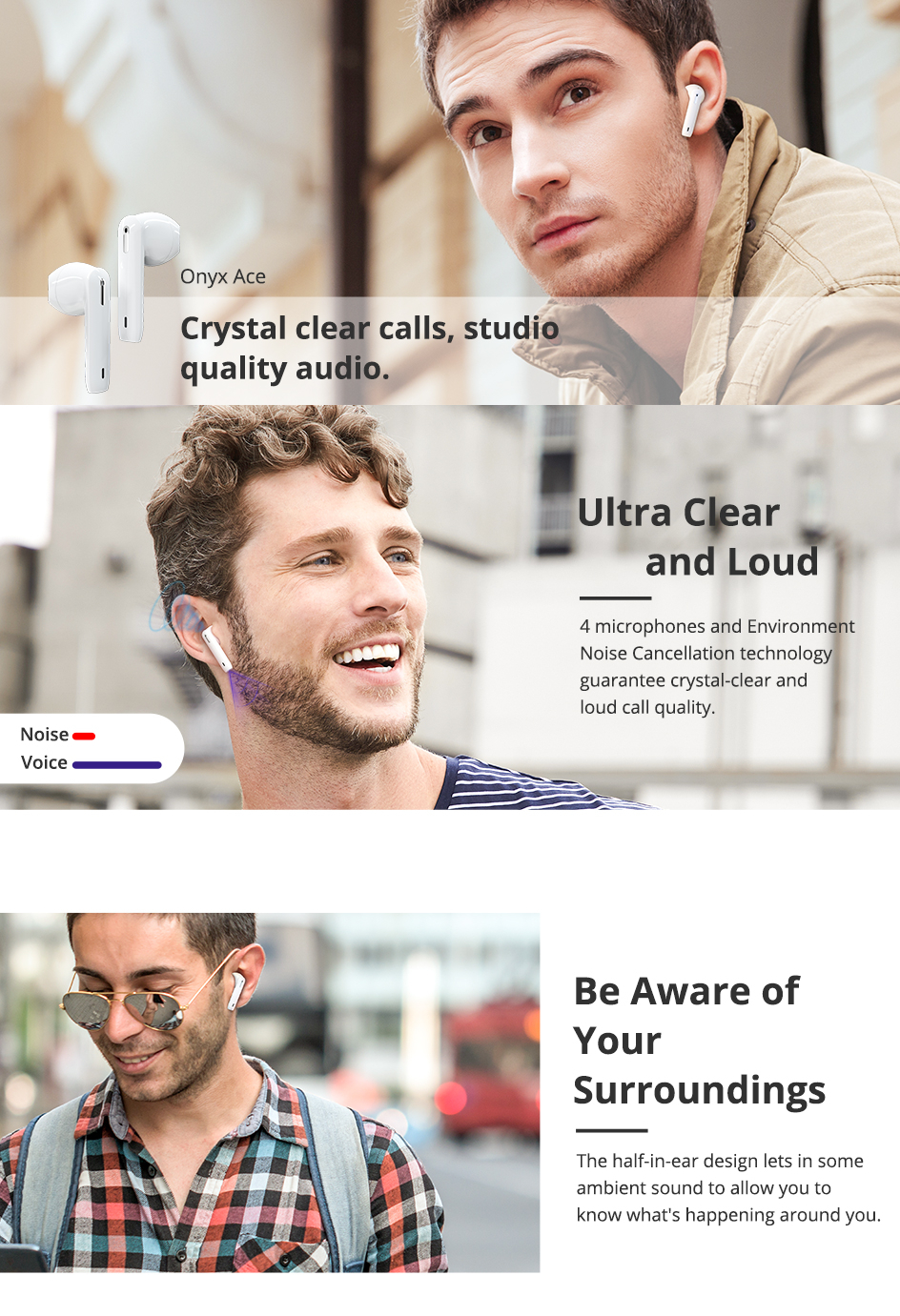 Tronsmart Onyx Ace TWS bluetooth 5.0 Earphone Wireless Headphone QCC3020 Apt Noise Cancelling Touch Headset with 4 Mic
