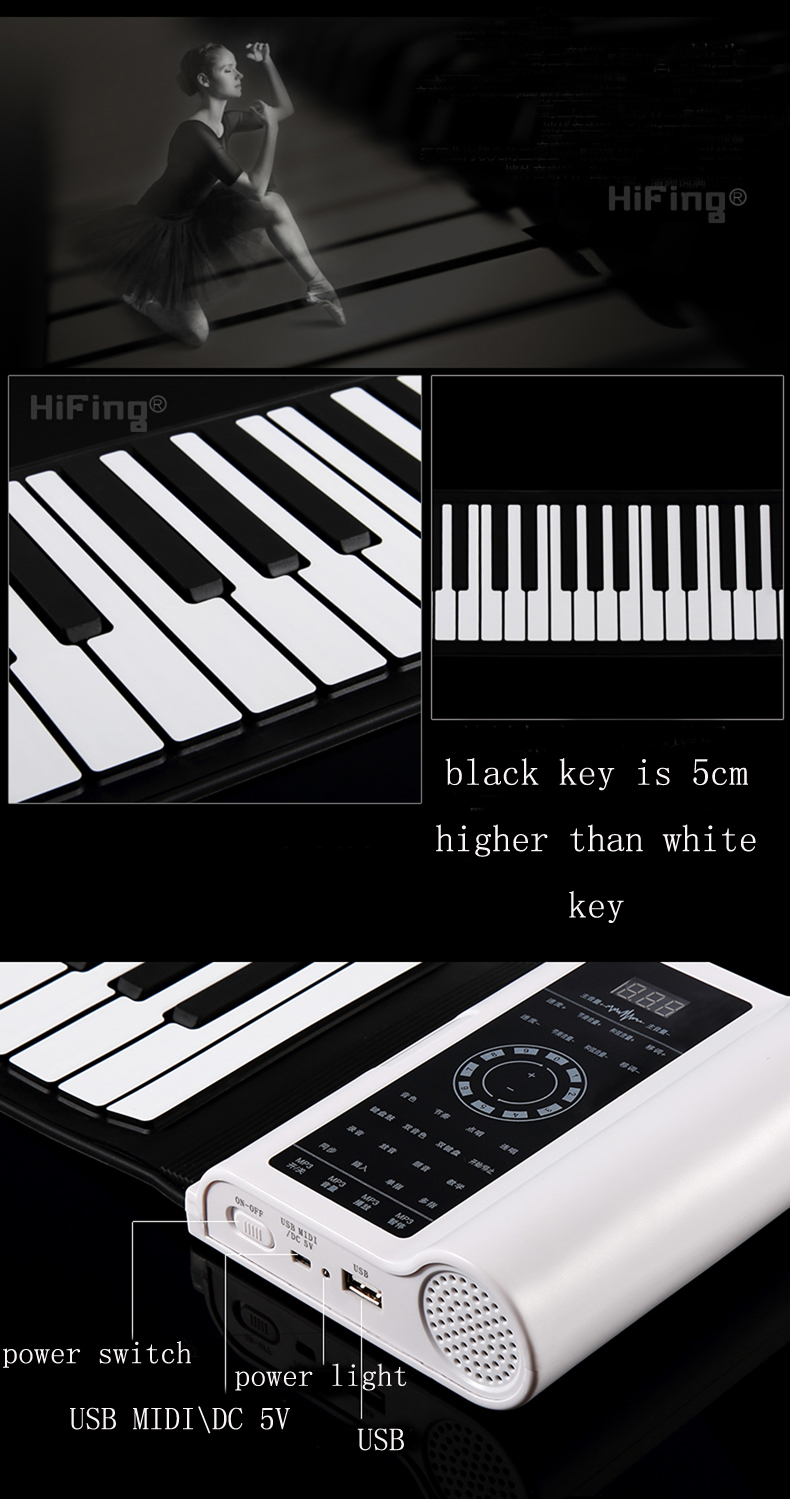 HiFing RP88P3 Professional 88 Key MIDI Electronic Keyboard Roll Up Piano