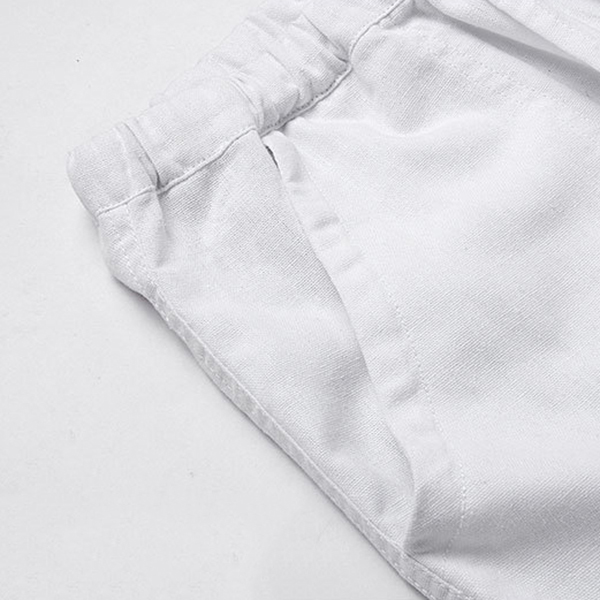 Mens Breathable Cotton Linen Casual Drawstring Pants
