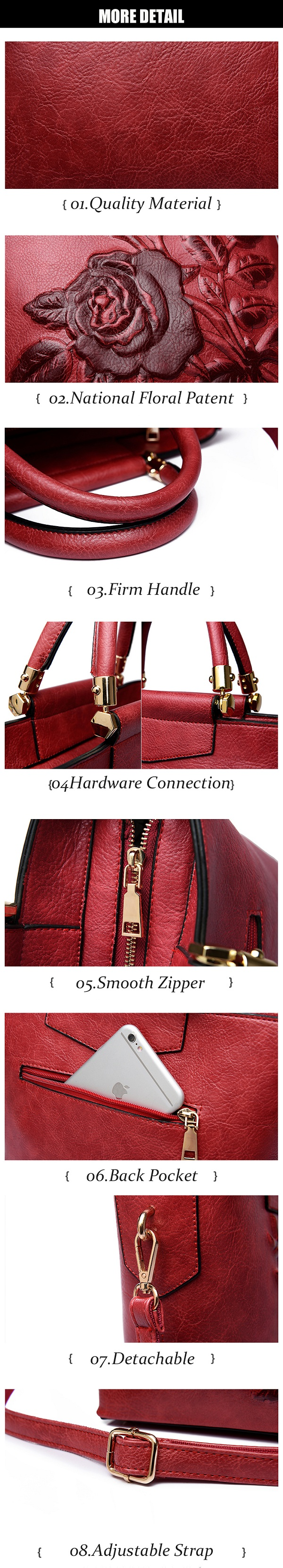 Elegant National Style Flower Pattern Shoulder Bags Crossbody Bags For Women