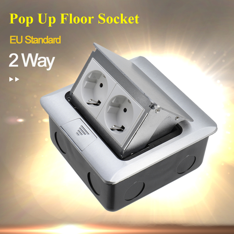 Panel EU Standard Pop Up Floor Socket 2 Way Electrical Power Outlet Modular Box Wall