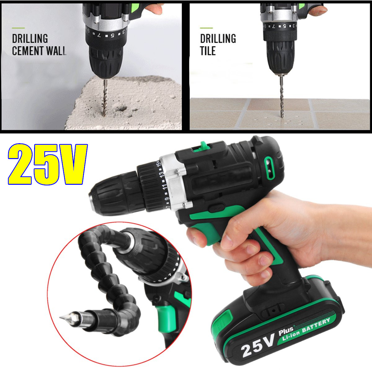 25V Multi-function Electric Screwdrivers Rechargeable Cordless Power Drilling Tools Power Screwdrive