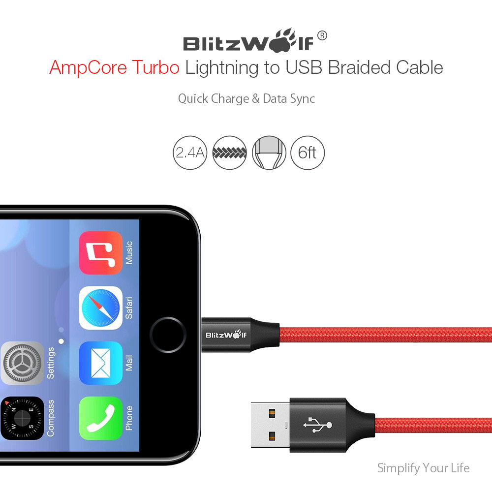 BlitzWolf® AmpCore Turbo BW-MF10 2.4A Braided Lightning Charging Data Cable 6ft with MFI for iPhone 8 Plus X